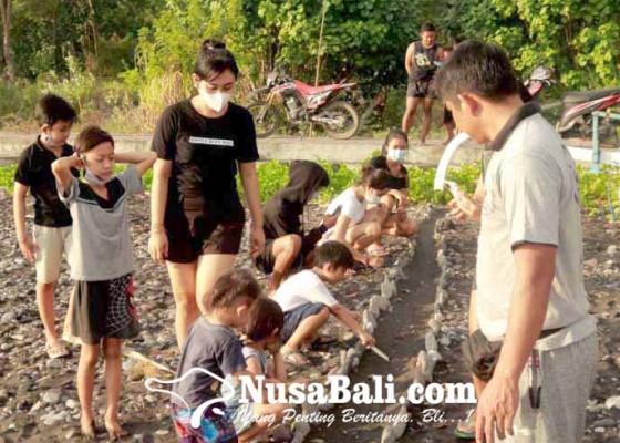 Nusabali.com - pecinta-penyu-lepas-77-tukik-di-pantai-labuhan-jelung