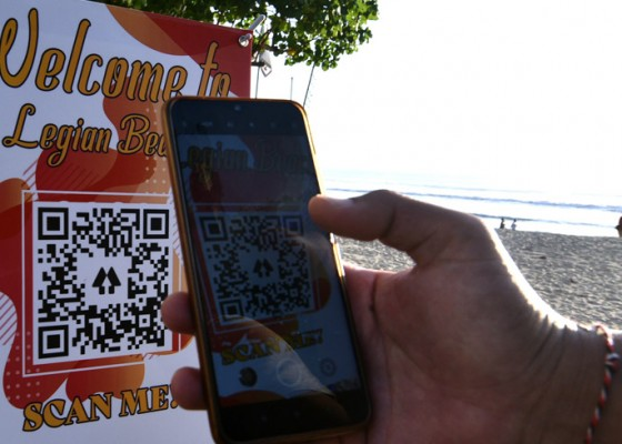 Nusabali.com - pantai-legian-berlakukan-qr-code-bagi-wisatawan