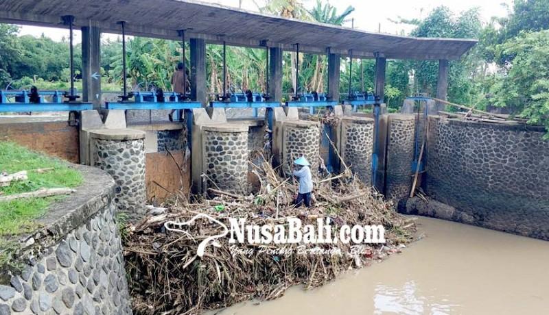 www.nusabali.com-pintu-air-bendung-tersumbat-sampah-warga-khawatir-banjir-susulan
