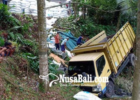 Nusabali.com - truk-angkut-dedak-nyemplung-jurang-di-bukit-jambul