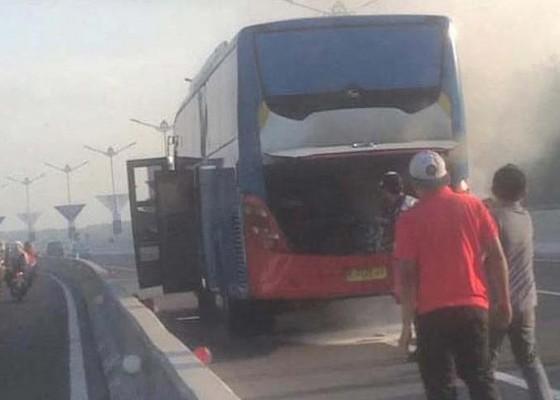 Nusabali.com - korsleting-mesin-bus-terbakar-di-jalan-tol-bali-mandara