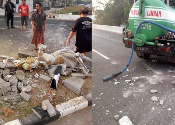 Nusabali.com - sopir-ngantuk-truk-tabrak-kanstin-underpass