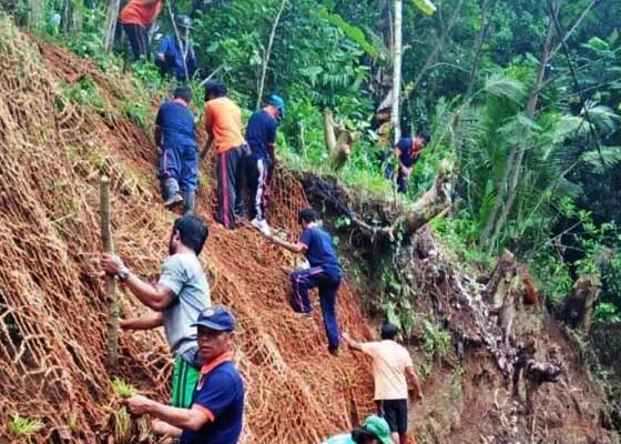 Nusabali.com - cegah-longsor-bpbd-badung-pasang-jaring-rumput-akar-wangi