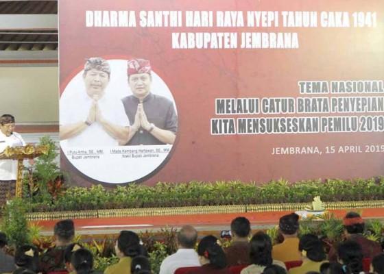 Nusabali.com - dharma-santhi-nyepi-bupati-artha-minta-jaga-kerukunan-umat-saat-pemilu