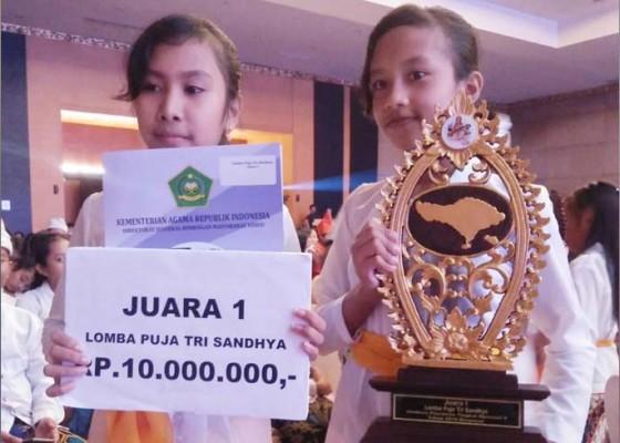 Nusabali.com - siswa-sdn-2-sawan-juara-i-lomba-puja-trisandya-nasional