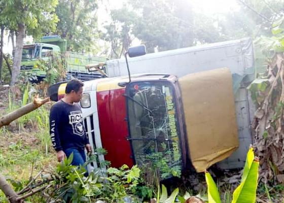 Nusabali.com - sopir-diduga-ngantuk-truk-box-terjun-ke-kebun