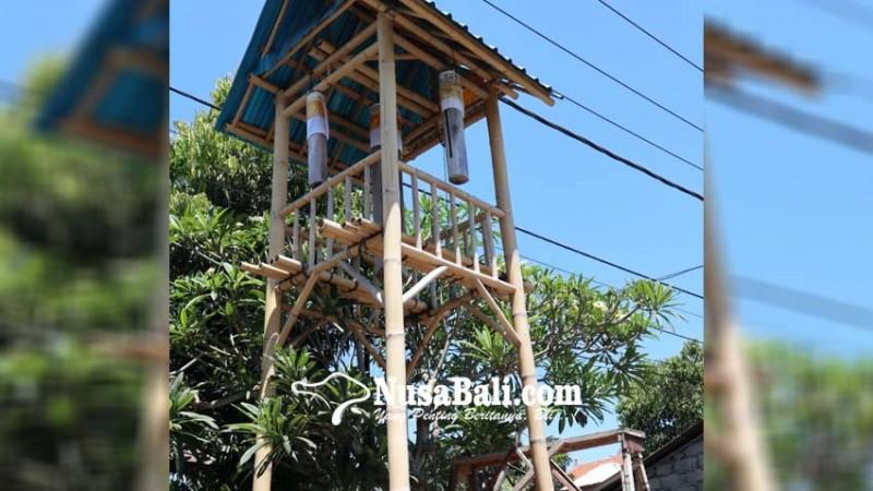 www.nusabali.com-warga-belega-kanginan-bangun-bale-kulkul-berbahan-bambu
