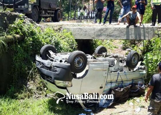 Nusabali.com - sopir-diduga-ngantuk-pick-up-terguling-ke-got
