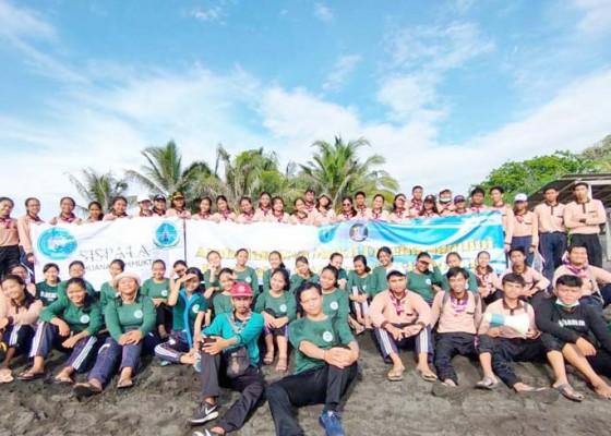 Nusabali.com - pramuka-blasman-bersihkan-pantai