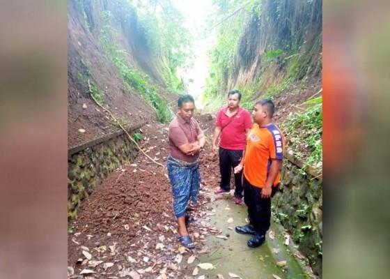 Nusabali.com - tanah-longsor-tutup-akses-jalan-taman-beji-ambengan