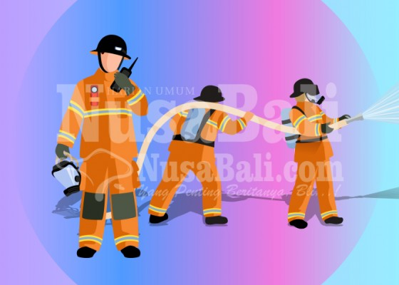 Nusabali.com - kompor-nyala-ditinggal-pergi-ruko-dua-lantai-terbakar