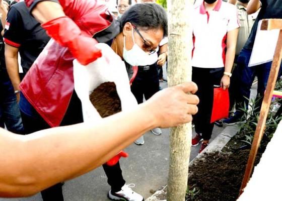 Nusabali.com - bupati-giri-prasta-pimpin-aksi-tanam-pohon-tabebuya-di-tukad-mati