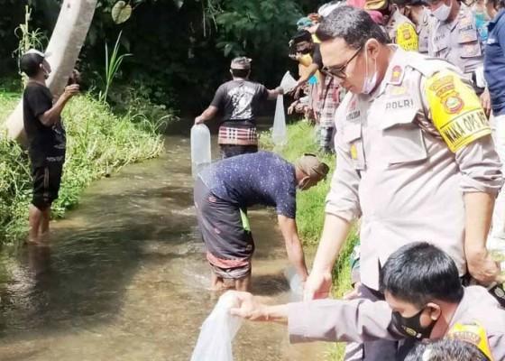 Nusabali.com - polres-gianyar-tebar-2020-benih-ikan-di-subak-desa-adat-bukian-payangan