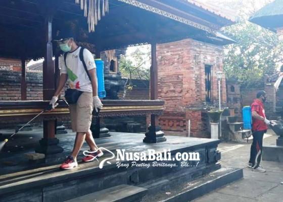 Nusabali.com - jelang-galungan-19-pura-di-wilayah-sumerta-kelod-disemprot-disinfektan