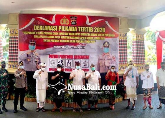 Nusabali.com - pasangan-cabup-cawabup-badung-deklarasi-pilkada-tertib
