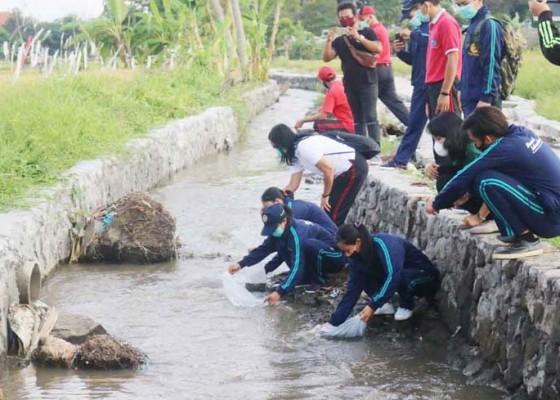 Nusabali.com - tmmd-kodim-1611badung-tebar-20000-ekor-ikan-nila