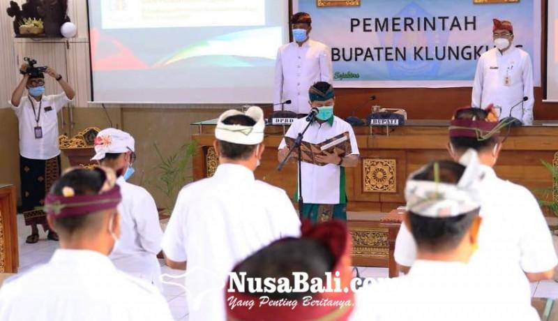 www.nusabali.com-lantik-21-pejabat-bupati-suwirta-minta-tanamkan-konsep-pesaja