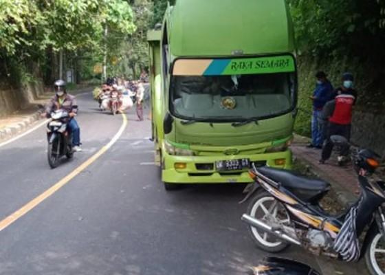 Nusabali.com - pasutri-tabrak-truk-parkir-sembarangan-di-depan-goa-jepang