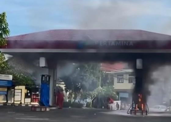 Nusabali.com - spbu-tebongkang-terbakar-kerugian-ditaksir-rp-200-juta