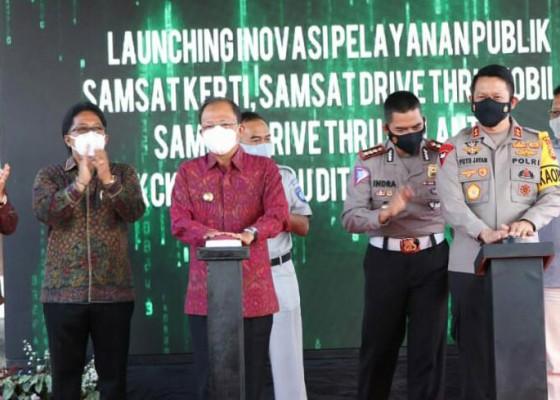 Nusabali.com - gubernur-kapolda-launching-4-inovasi-layanan-publik-samsat