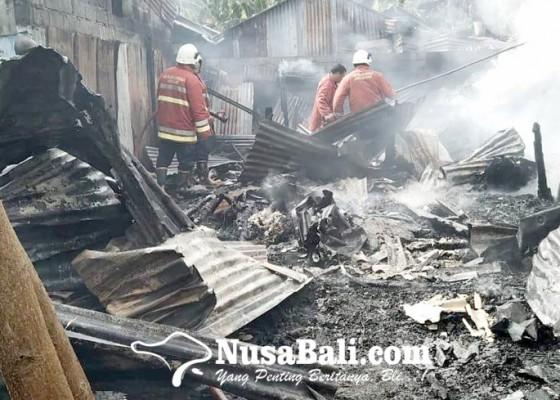 Nusabali.com - diduga-korsleting-listrik-bedeng-ludes-terbakar