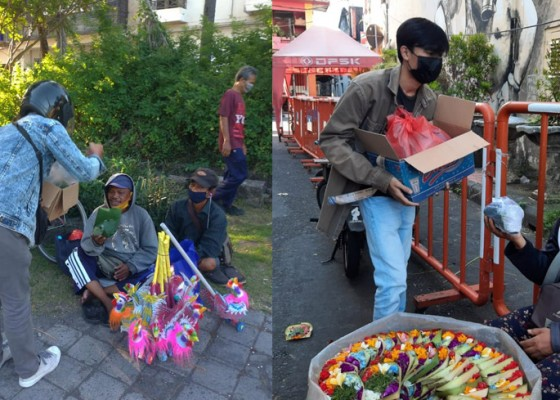 Nusabali.com - gotong-royong-hadapi-pandemi-komunitas-koalisi-sosial-dan-pandan-madui-movement-bagikan-nasi-bungkus